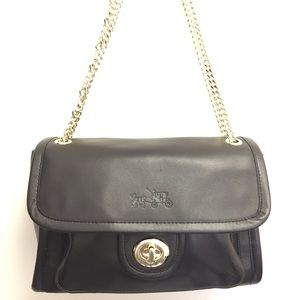 Coach Turnlock Satchel with Chain Strap, Black